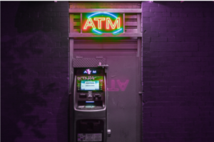 image of a atm machine at night