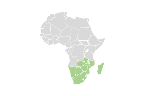 regional map of southern african countries